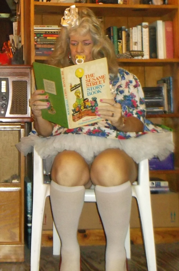 A typical day for sissybaby pansy - sissybaby pansy reads its storybook and does some colouring. The sissybaby no longer performs anything remotely 'adult' (except, some cleaning at times), the sissy is only permitted to do things that an actual 3 year old would do, sissy,humiliation,adult baby,age regression, Adult Babies