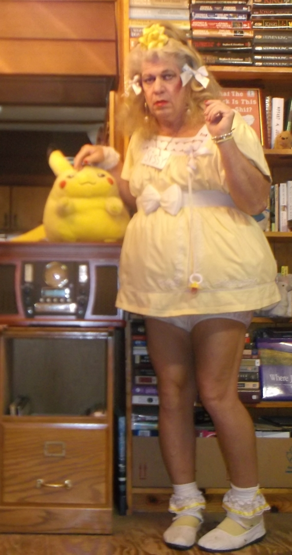 baby pansy in a yellow dress, sissy,adult baby,feminization,diapers,permanent incontinence , Adult Babies