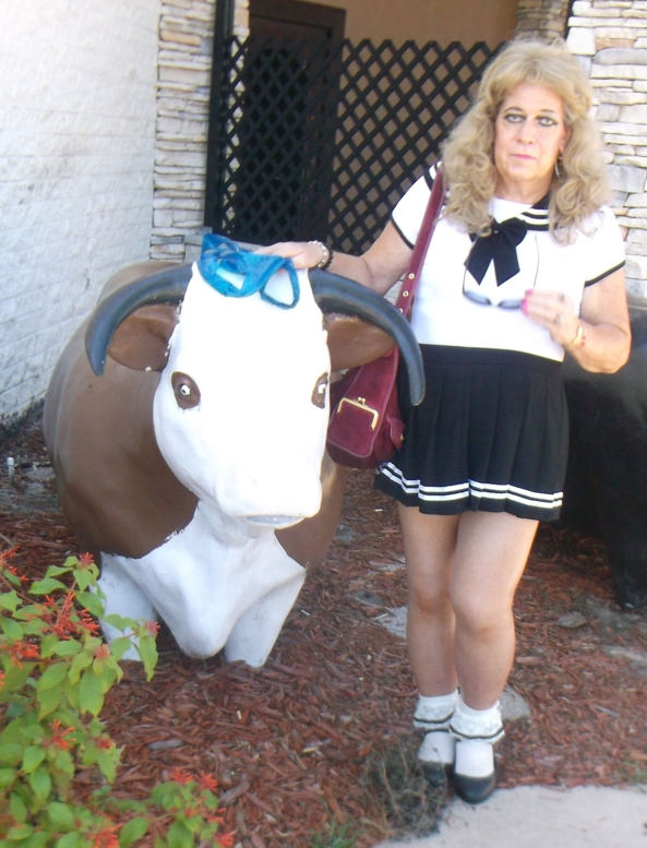 pansy and a Cow - a few pics Daddy/Master AJ took in front of a steakhouse, we didn't go into the restraunt, but its right by the Mall entrance, sissy,humiliation,Adult Little Girl, Adult Babies
