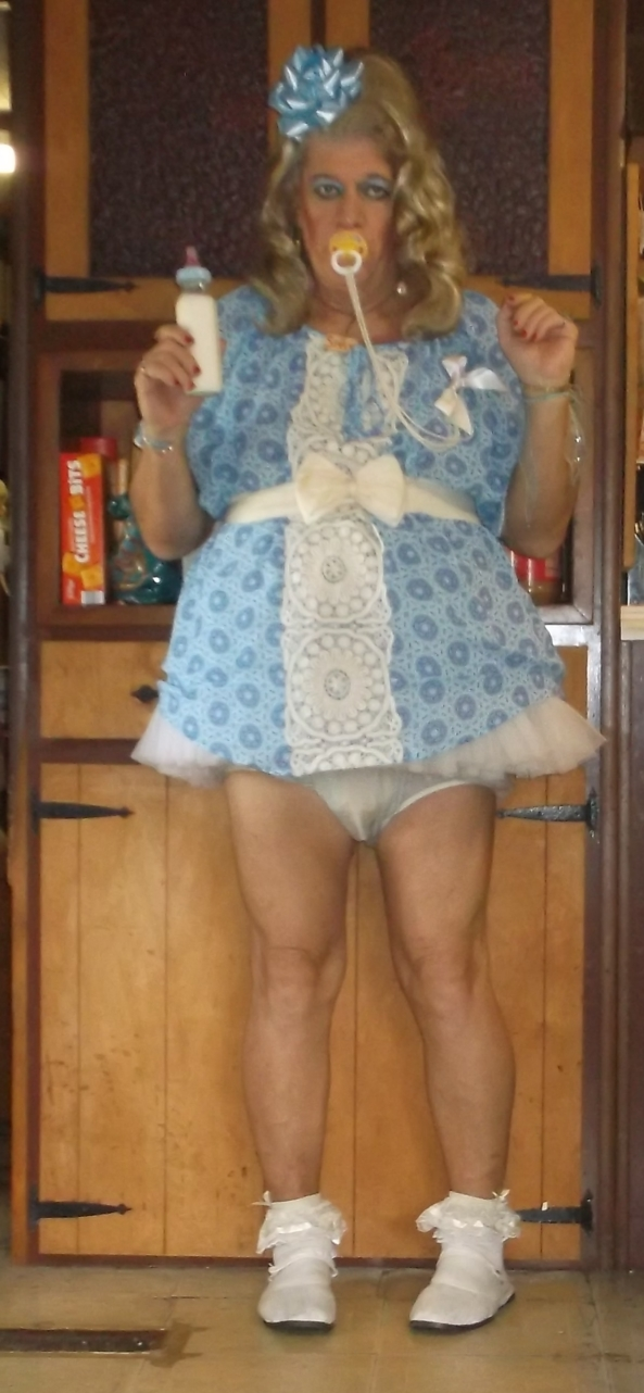 babygirl pansy in his blue baby dress - babygirl pansy has over 30 littlegirl/baby dresses, this sissy hasn't worn