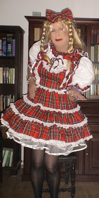 Sissy's little tartan dress - What I am wearing today? Tartan!, sissy,pansy,dolled up, Dolled Up,Feminization