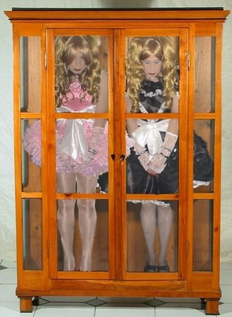 For Sale - brand new wooden cabinet comes with two obedient and fully dressed sissies, sissy,pansy,feminization, Dominating Mistress Or Master,Dolled Up,Feminization
