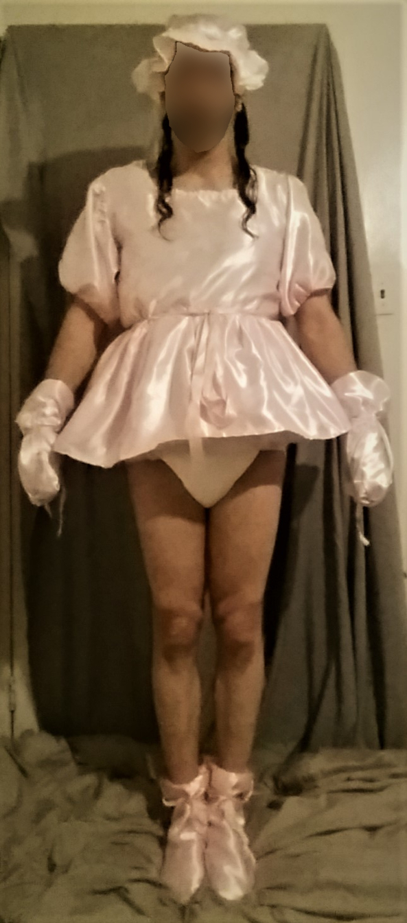 The Pink Satin Outfit - A hand-made outfit., ABDL,Satin,Dress,Diaper, Adult Babies,Diaper Lovers,Feminization,Sissy Fashion