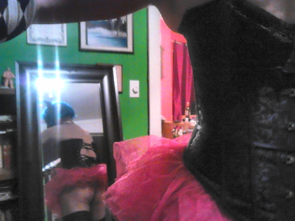 I have an old cell,sorry poor picture - triyng my new corset, corset/ tutu/ doll, Sissy Fashion,Dolled Up,Feminization