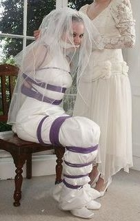 After Sissy's Wedding - The first night, Tied in Weddingdress, Bondage,Wedding