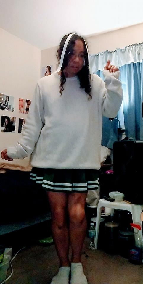 White Sweater Cheerleader  - This picture was taken on 4/23/18. I like the slightly embarrassed look on my face. Almost looks like I was told to cheer and act prissy whether I like it or not! , sissy cheerleader,cheerleaders,Michael Autumn, Masterbation,Sissy Fashion,Spankings
