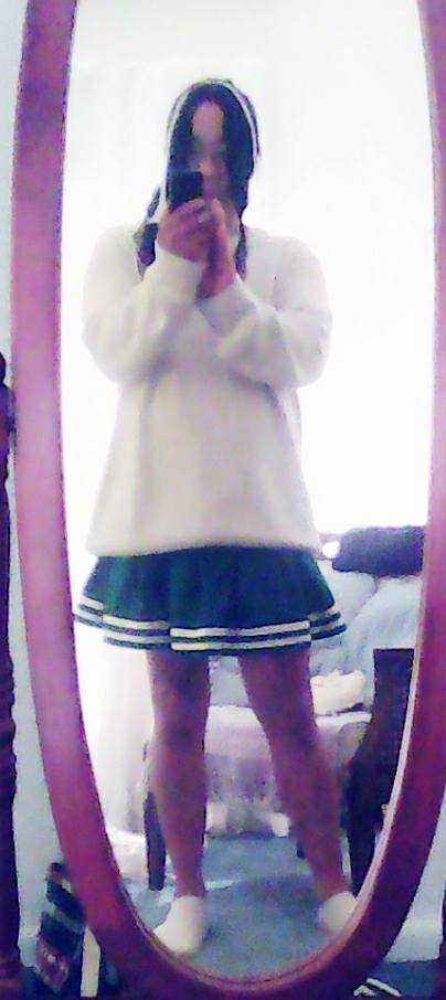 Cheerleading Uniform - Me in my cheerleading uniform (photo taken in front of a thin mirror using a thin lense, Cheerleader, Feminization