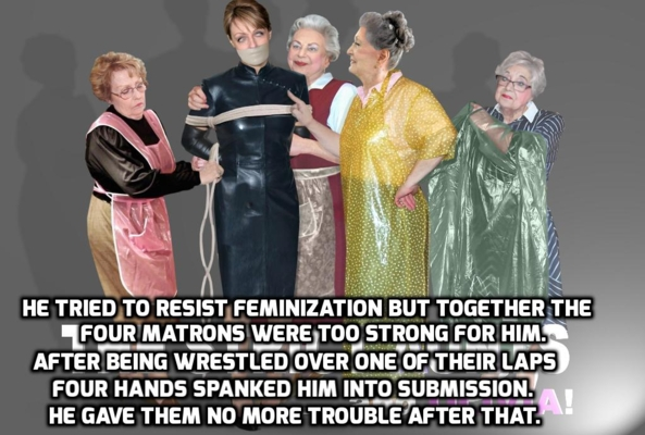 Humiliated by the Beauticians - He was humiliated to find he was no match for four old ladies., feminization forced spanking beauty parlor, Feminization,Dominating Mistress Or Master,Sissy Fashion,Spankings,Bondage,Dolled Up