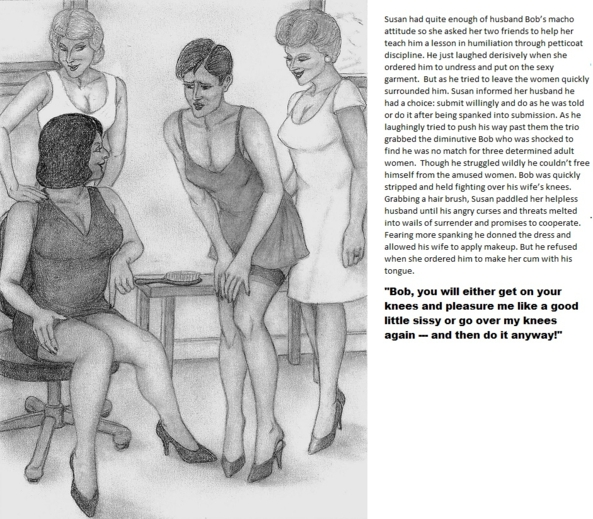 Disciplined by Petticoat Punishmnnt - Little Bob is humiliated by wife and her friends., forced feminization femdom spanking , Feminization,Spankings,Bad Boy To Good Girl