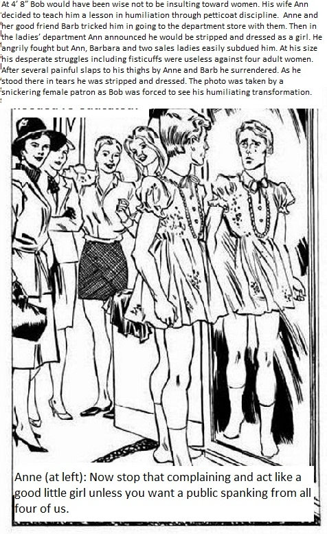 Public Sissyfication - Little Bob humiliated by forced feminization by four bigger ladies., femdom forced fem spanking sissy, Feminization,Spankings,Bad Boy To Good Girl,Dolled Up