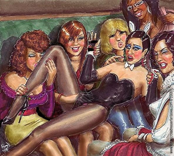 Lesbian Gangbang - Ladies please let me go.  I'm a trans but not a lesbian for God's sake. SOMEBODY PLEEZE HELP ME!!, lesbians,femdom, Dominating Mistress Or Master,Dolled Up,Feminization