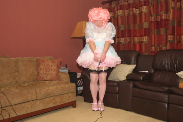 Nikki in Frillies - Me in a sheer dress, lingerie, and petticoats, dress lingerie petticoat, Dolled Up