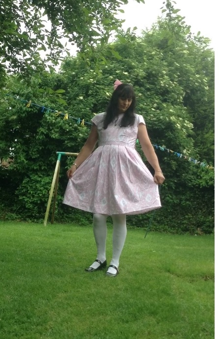 Girl in a dress  - Really love my new dress , Girl,girls dress,Mary Jane shoes,white tights , Adult Babies,Feminization,Diaper Lovers
