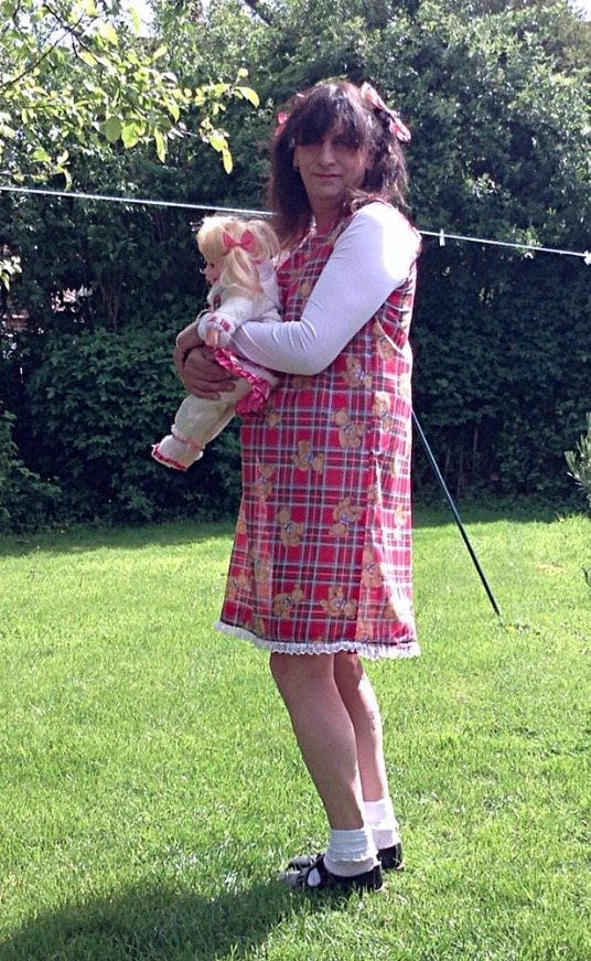 Girl and her dollie - Just love wearing my girls dress with my white ankle socks and girls t bar shoes loved my teddy bear print so cute , Little girl,nappy,white ankle socks,t bar shoes,girls shoes , Adult Babies,Feminization,Diaper Lovers