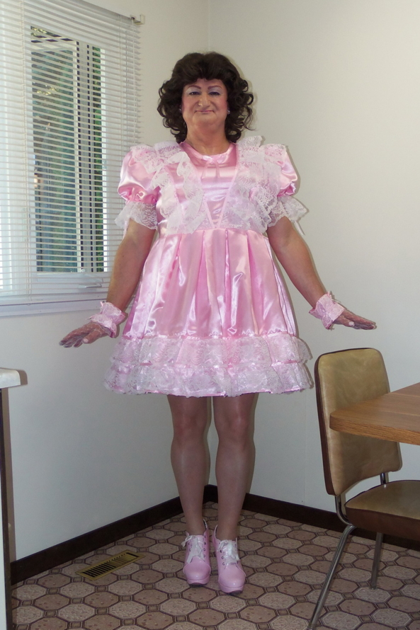 My Adult Baby Dress - Posing in my pretty satin