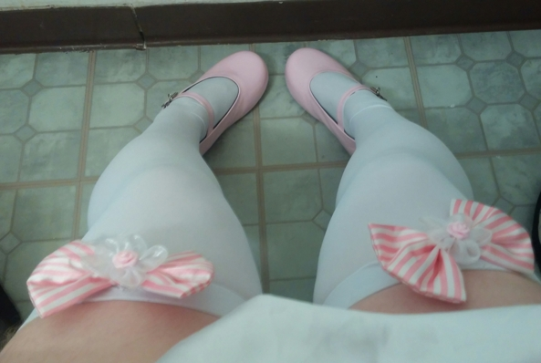 My Cutesie Stockings and Shoes! - My comfy stockings and shoes! Figured I'd share it here. Don't take many pics!, stockings Mary_Janes thigh_highs, Feminization,Sissy Fashion,Dolled Up