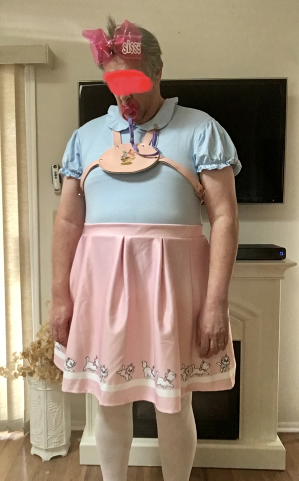 Pink Aristocats Skirt - Me in my new pink skirt., Pink skirt, Adult Babies,Sissy Fashion,Diaper Lovers