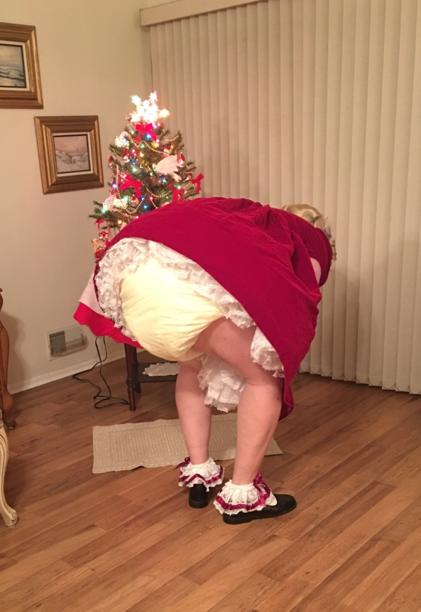 Christmas Selection  - Me, in my red velvet dress, thick cloth diapers, plastic panties, and baby reins., Sissy dress,plastic pants,harness, Adult Babies,Diaper Lovers,Sissy Fashion