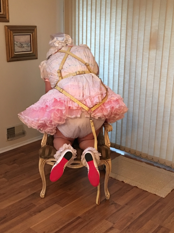 Sissy Show in Baby Reins - Another sissy baby dress, reins, diapers, plastic pants, sissy panties, shoes, socks , Sissy dress,plastic pants,frilly panties,baby reins,leash, Adult Babies,Sissy Fashion,Diaper Lovers