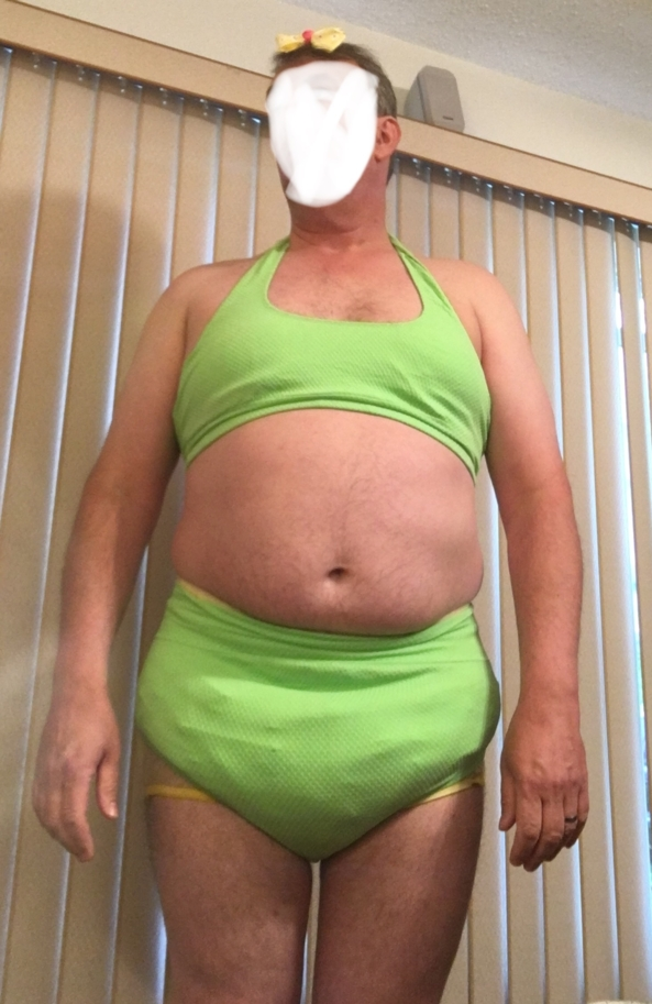 GREEN HALTER SISSY BATHING SUIT - Checking out my green halter bathing suit., Sissy bathing suit, Adult Babies,Diaper Lovers,Sissy Fashion