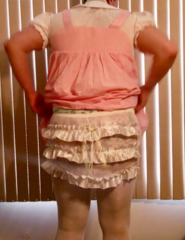 Frilly Tights - My short pink halter dress with white blouse, cloth diapies, plastic pants, and frilly tights. , Sissy baby,diapers,tights,pink dress, Adult Babies,Diaper Lovers