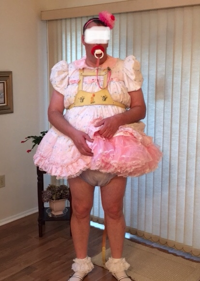 SISSY FOR A WALK - Me with different hair bows, sissy dress, and walking harness, cloth diapers plastic panties, of course, Sissy dress,baby harness, Adult Babies,Diaper Lovers,Sissy Fashion