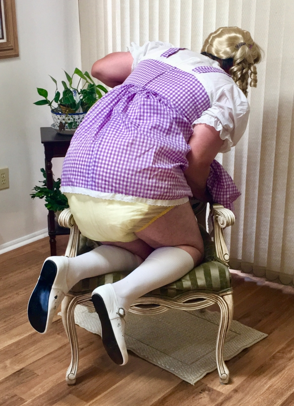 Purple white check dress - Me in my purple and white check dress, and different plastic panties. , Sissy dress plastic panties , Adult Babies,Diaper Lovers,Sissy Fashion