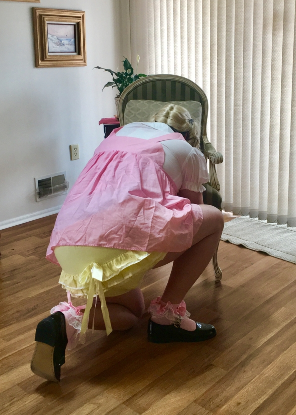 What's That! Sounds Like Sissy Plastic Panties! - Me in my short pink bunny jumper dress, with frilly yellow panties., Sissy Jumper Dress, Adult Babies,Diaper Lovers,Sissy Fashion