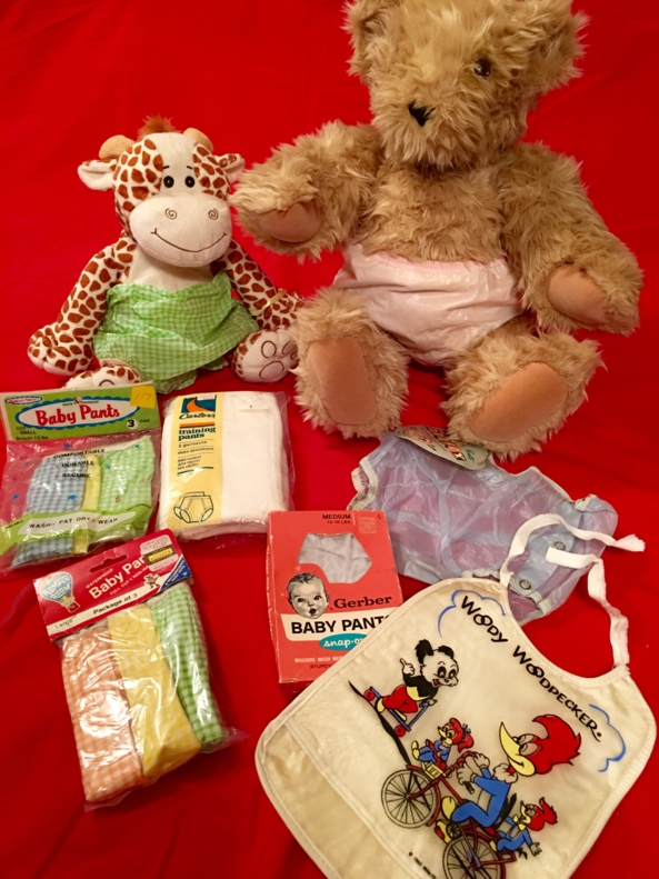 Vintage Baby Items - Some lovely vintage baby items, shown with the help of Theodore Franklyn Bear, and Giuseppe. , Baby pants,plastic pants,rubber pants, Adult Babies,Diaper Lovers