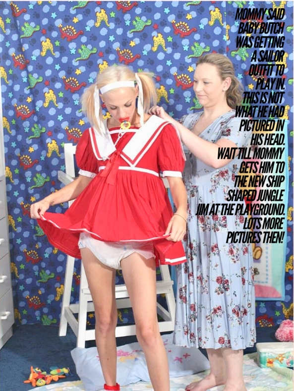 SAILOR BABY BUTCH - Baby Butch is prepared to go to the playground , Sailor dress, Adult Babies,Diaper Lovers