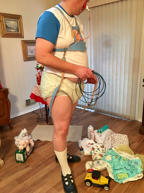 I was happy inside - Me happily playing inside, till mommy had other plans., Terry cloth diaper,plastic pants,harness, Adult Babies,Diaper Lovers