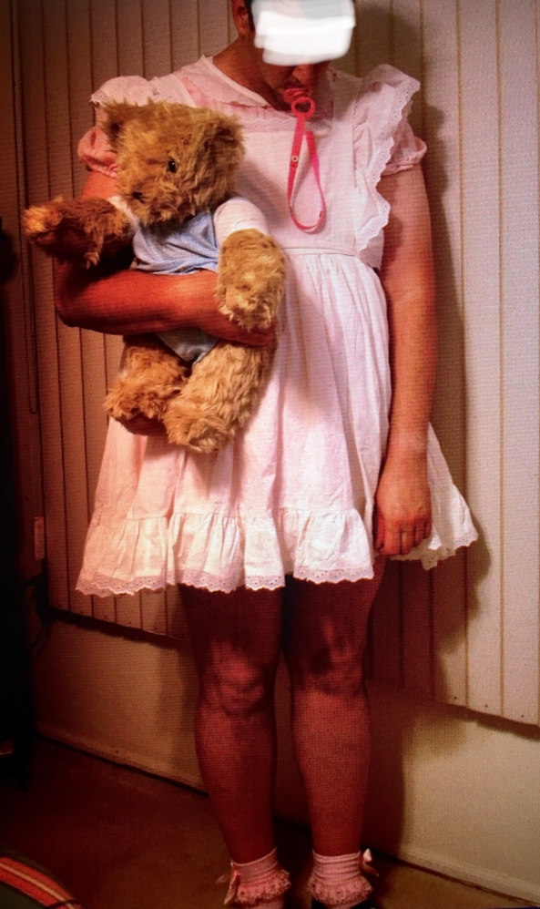 Pinafore and Teddy - Pink dress, pinafore, and teddy Theodore Franklyn , Sissy dress and teddy bear, Adult Babies,Diaper Lovers,Sissy Fashion