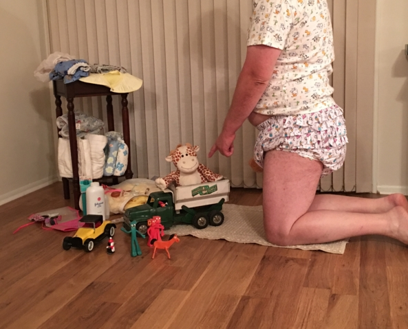 Playtime - Giuseppe being told not to hog the dump truck., Toys,plastic pants,diapers, Adult Babies,Diaper Lovers,Sissy Fashion