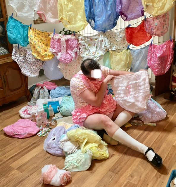 Frilly Rompers - Me with my plastic panties, in my frilly plastic lined rompers., Plastic panties,rompers, Adult Babies,Sissy Fashion,Diaper Lovers