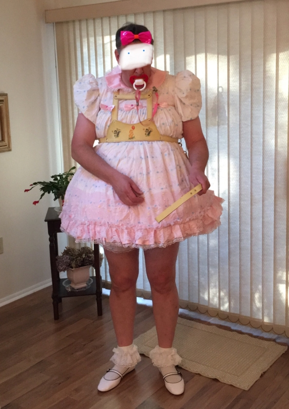 SISSY FOR A WALK - Harness is on, this means I do what mommy says., Sissy dress,baby harness, Adult Babies,Diaper Lovers,Sissy Fashion