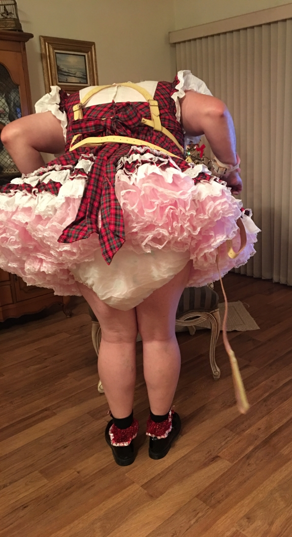 SHORT PLAID SISSY DRESS - Me in my short plaid dress, Petticoat's, diapers, and frilly plastic panties., Short sissy dress, Adult Babies,Sissy Fashion,Diaper Lovers