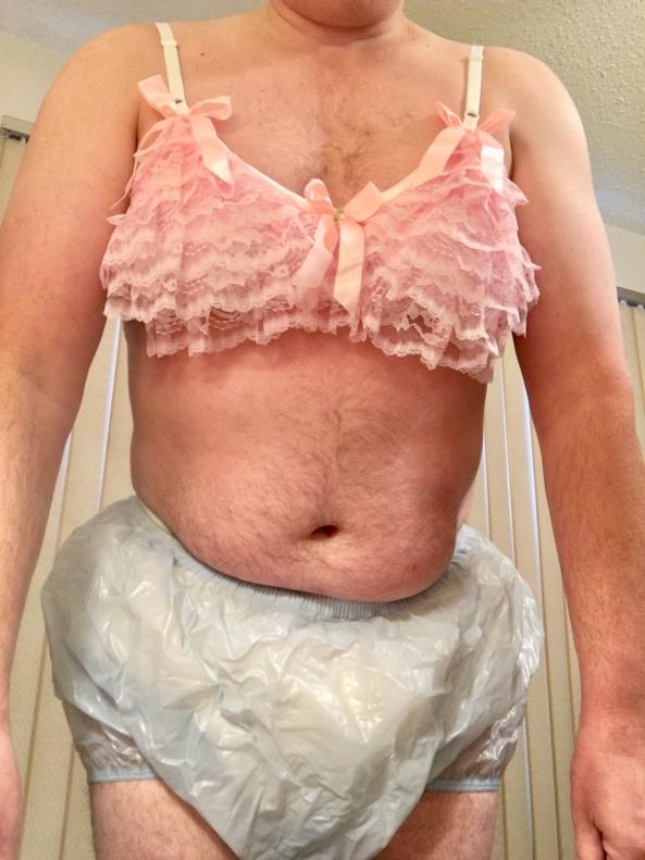New Sissy Training Bra - Pink satin training bra, with pink frills, and pink bows., Sissy training bra, Adult Babies,Diaper Lovers,Sissy Fashion