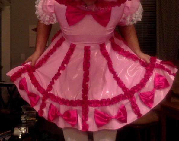 My new sissy baby dress is my new favorite !!! - Pink PVC sissy baby dress and diapers, PVC,Sissy,Sissybaby,diaper baby, Sissy Fashion,Dolled Up,Masterbation